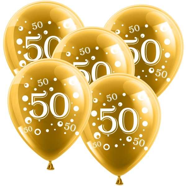 10 Latexballone 30cm Zahl 50 Goldene Hochzeit